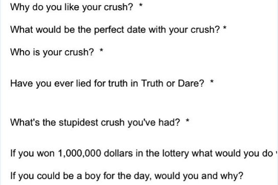 truth or dare quiz over text
